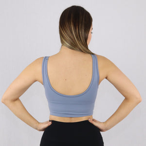 Women's Light Blue Longline Sports Bra