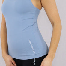 Load image into Gallery viewer, Womens Blue Racer Back Stretchy Gym Vest
