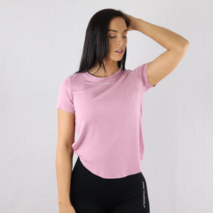Women's Pink Twisted Hem Gym T-Shirt
