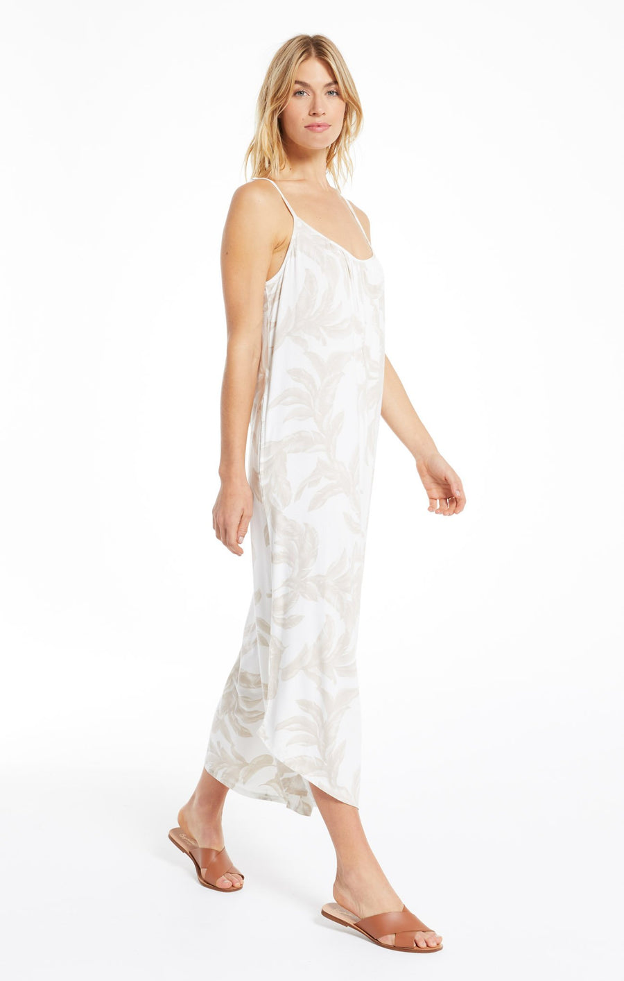 tira palm flared jumpsuit - bone