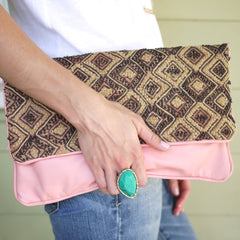 All Over Africa Blush Leather Oversized Clutch
