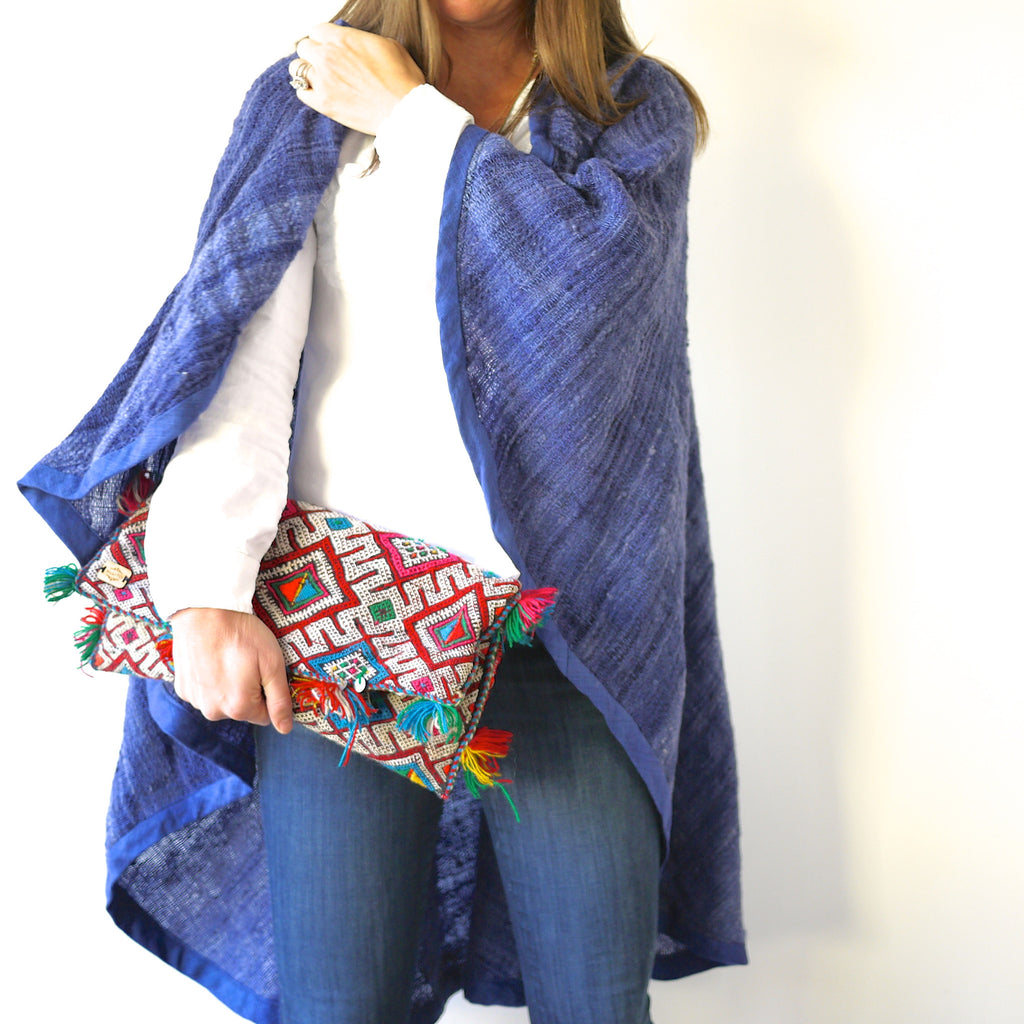Handwoven Blue Wool Cape