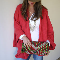 Handwoven Red Cotton Cape