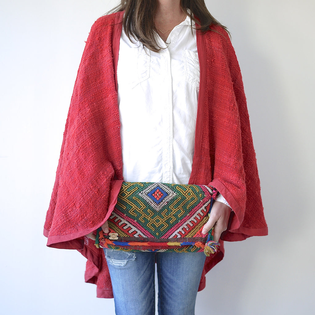 Handwoven Tomato Red Wool Cape