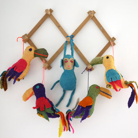 Decorative Wool Parrots & Monkey