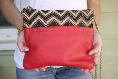 All Over Africa Red Leather Convertible Purse