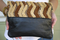 All Over Africa Black Leather Convertible Purse