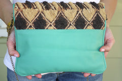 All Over Africa Teal Convertible Clutch