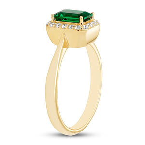 Emerald Ring , Sapphires 10K Yellow Gold