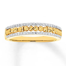 Load image into Gallery viewer, 10K Yellow Gold Beaded Ring 1/5 ct tw Diamonds