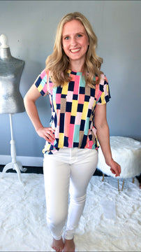 Colored Blocks Short Sleeve Top