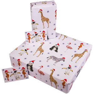 Christmas Recycled Wrapping Paper Party Animals