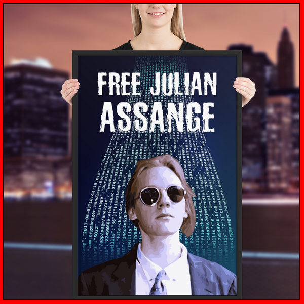Free Julian Assange Framed poster
