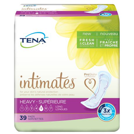 TENA Incontinence Pads for Women, Heavy Absorbency, Long, 39 Count