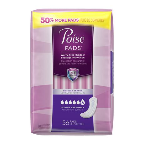Poise  Incontinence Overnight Pads, Ultimate Absorbency, Regular