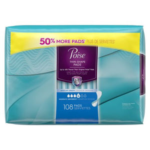 Poise Ultra Thin Incontinence Pads, Moderate Absorbency, Unscented, Regular (108 Count)