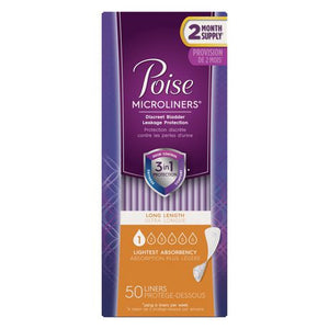 Poise Microliners, Incontinence Panty Liners, Lightest Absorbency, Long