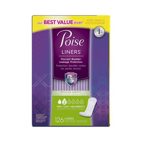 Poise Incontinence Panty Liners, Very Light Absorbency, Regular