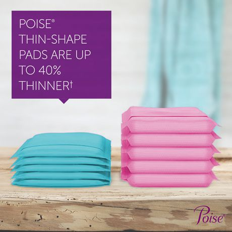 Poise Ultra Thin Incontinence Pads, Light Absorbency, Unscented, Regular (30 Count)