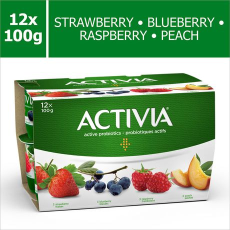 Activia Yogurt with Probiotics, Strawberry/Blueberry/Raspberry/Peach Flavour, 100g (Pack of 12)