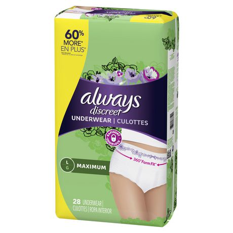 Always Discreet, Incontinence Underwear for Women, Maximum, Large