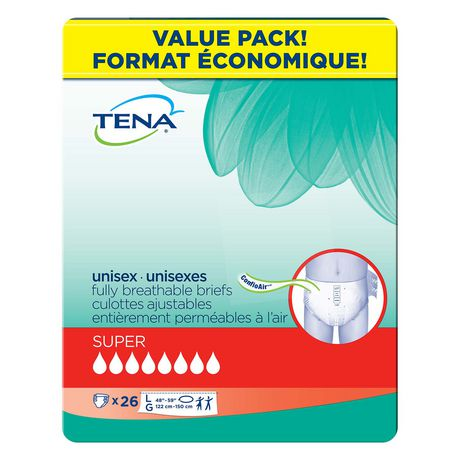 TENA Incontinence Briefs, Super Absorbency,  Large, 26 Count