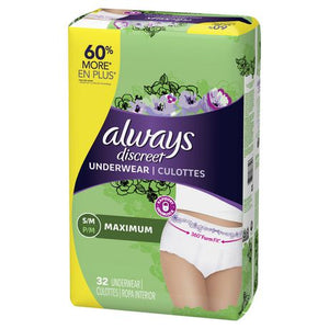 Always Discreet, Incontinence Underwear for Women, Maximum, Small / Medium