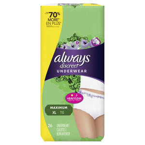 Always Discreet, Incontinence Underwear for Women, Maximum Classic Cut, Extra-Large