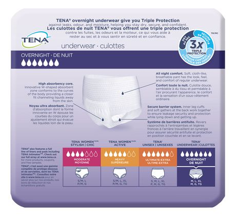 TENA Incontinence Underwear, Overnight Protection, Xlarge, 10 Count