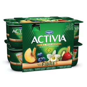 Activia Yogurt with Probtiocs & Fibre, Vanilla-Cereal/Peach Cereal/Blueberry Cereal/Strawberry-Kiwi Cereal, 100g (Pack of 12)