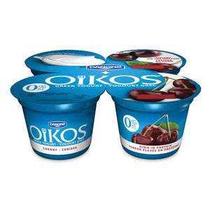 OIKOS Greek Yogurt, Fat-free, Cherry Flavour, 0% M.F., 100g (Pack of 4)