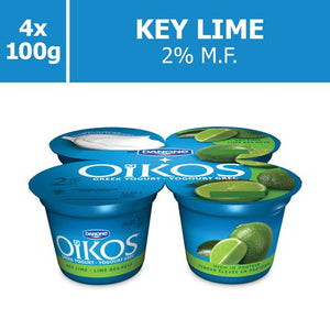 OIKOS Greek Yogurt, Key Lime Flavour, 2% M.F., 100g (Pack of 4)