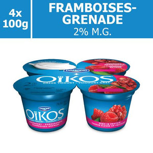 OIKOS Greek Yogurt, Raspberry-Pomegramate Flavour, 2% M.F., 100g (Pack of 4)