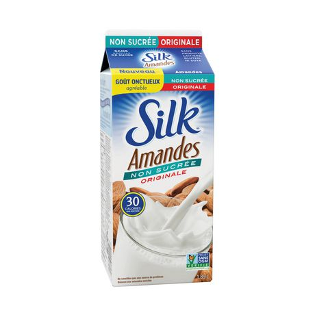 SILK Almond Beverage, Unsweetened Original, Dairy-Free, 1.89L