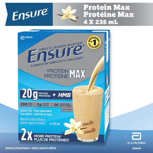 Ensure® Protein Max, Complete Balanced Nutrition, Vanilla, 4 x 235 mL