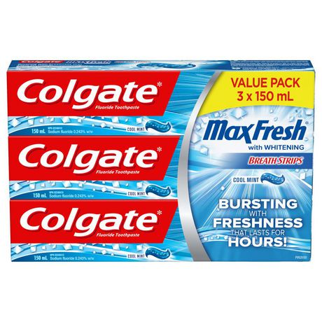 Colgate Max Fresh Toothpaste with Mini Breath Strips, Cool Mint