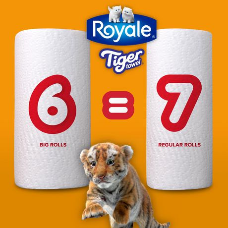 Royale Tiger Strong Paper Towel, 6 Big Rolls Equal 7 Regular Rolls