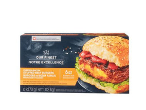 Our Finest Cheddar Cheese & Applewood Smoked Bacon Beef Burgers