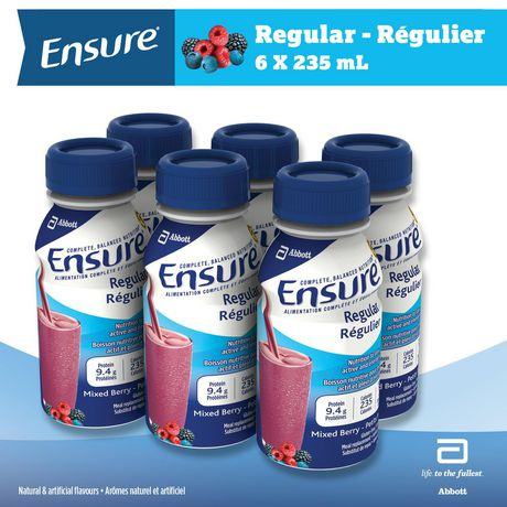 Ensure® Regular, Complete Balanced Nutrition, Wildberry, 6 x 235 mL