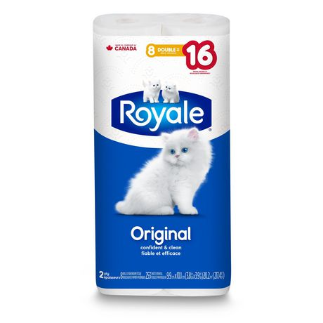 ROYALE® Original Bathroom Tissue, Double Rolls, 8=16 Rolls, 2 Ply Toilet Paper, 253 Sheets per Roll (2,024 Total)