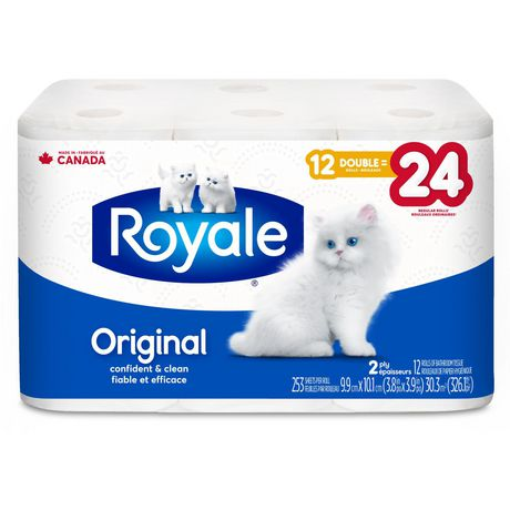 ROYALE® Original Bathroom Tissue, Double Rolls, 12=24 Rolls, 2 Ply Toilet Paper, 253 Sheets/Roll (3,036 Total)