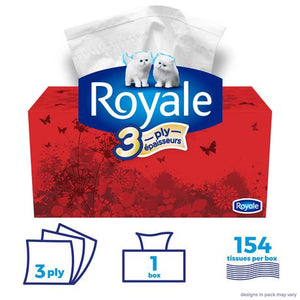 Royale 3 Ply Facial Tissues, 154 Tissues per box, 1 Flat Family Box