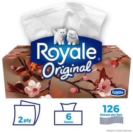 Royale Original 2 Ply Facial Tissues 126 Tissues per box, 6 Flat Boxes