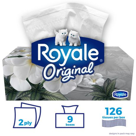 Royale Original 2 Ply Facial Tissues 126 Tissues per box, 9 Flat Boxes