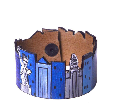 Blue New York leather bracelet