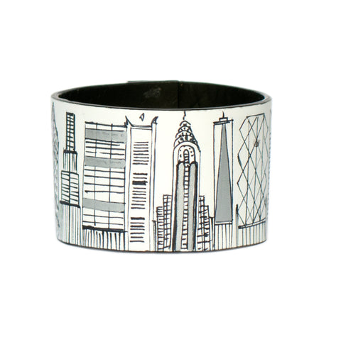Silver New York leather bracelet
