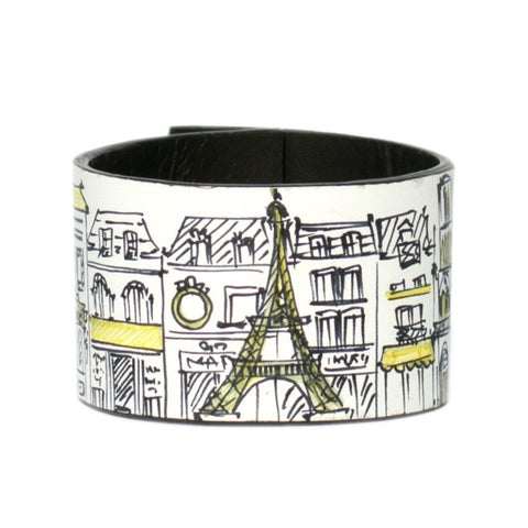 Paris Yellow  leather bracelet