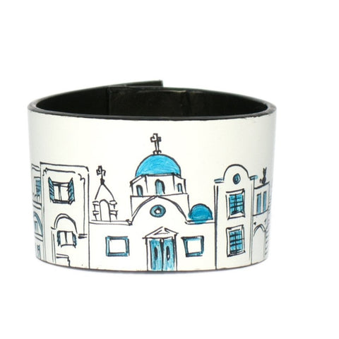 Blue Santorini leather bracelet