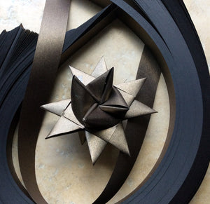 200 Paper Strips to make 3D Stars (Moravian Froebel Quilling Weaving) Bronze Sheen 3/4 in wide