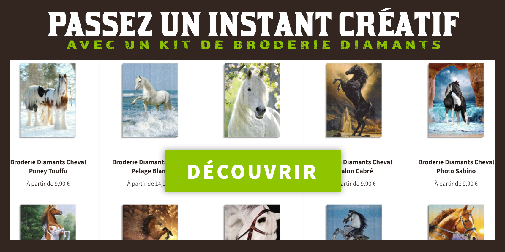 Nos broderies diamants cheval